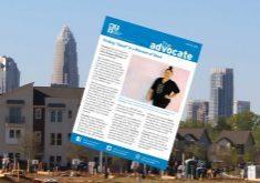 winter newsletter imposed on Charlotte skyline